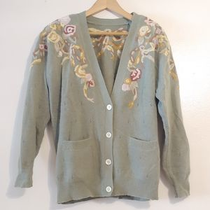 Vintage. Button up cardigan embroidered sweater.